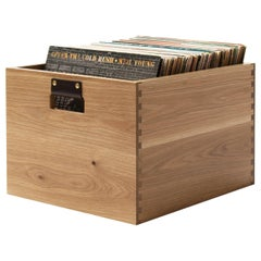 Solid Oak Dovetail Record Crate - In Stock