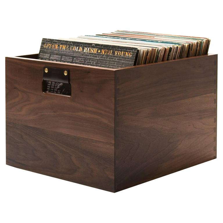 Solid Walnut Dovetail Record Crate - In Stock For Sale