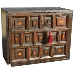 "Late 18th Century Spanish Pine and Walnut Seven-Drawer ""Vargueño"""