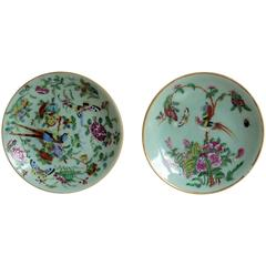Two Chinese Plates, Porcelain, Celadon, Birds and Butterflies, Qing, circa 1830
