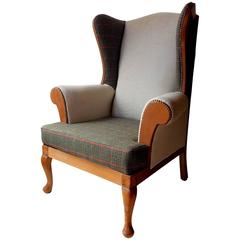 Fully Reupholstered Birch and Alpe Wingback Armchair Inspired by Ralph Lauren