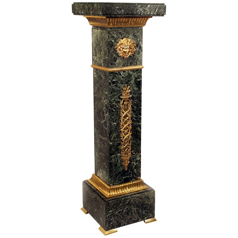 Fine Late 19th Century Gilt Bronze Mounted Empire Style Marble Pedestal For Sale