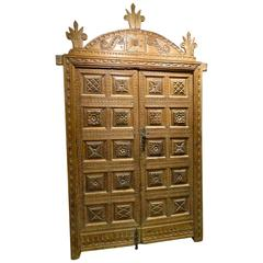 Mid-Late 16th Century Framed Pyrenees Sacristy Door with Crown, Pine and Walnut