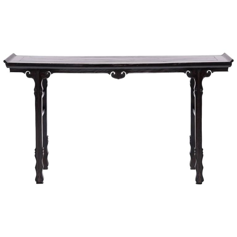 Chinese shallow sword foot altar table with ruyi medallion, 1850
