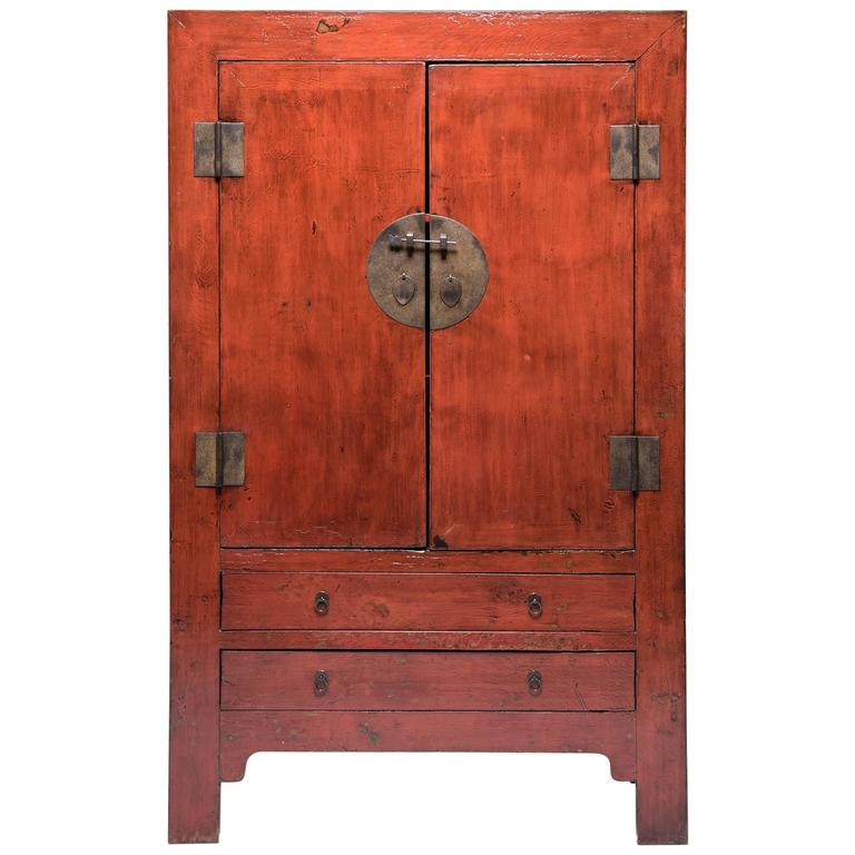 Chinese Two-Door Two-Drawer Red Lacquer Cabinet