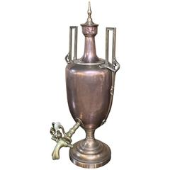 19th Century Copper and Brass Samovar, Tea Server