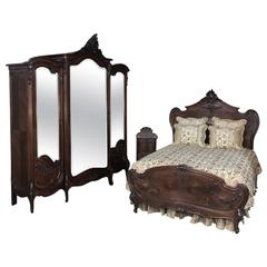 19th Century French Mercier Louis XV Walnut Bedroom Suite