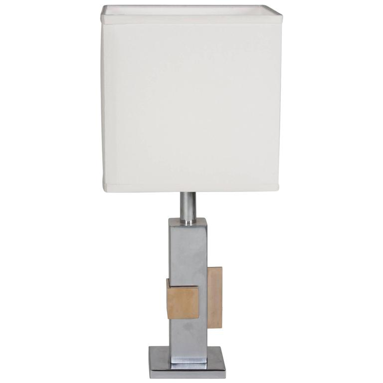 Geometric Chrome and Bronze Table Lamp, French, 1970s 1