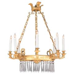 Early 19th Century French Directoire Bronze Doré, Mirror and Crystal Chandelier