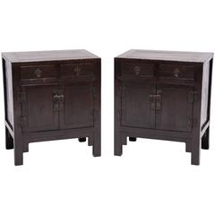 Pair of Chinese Square Corner Kang Cabinets