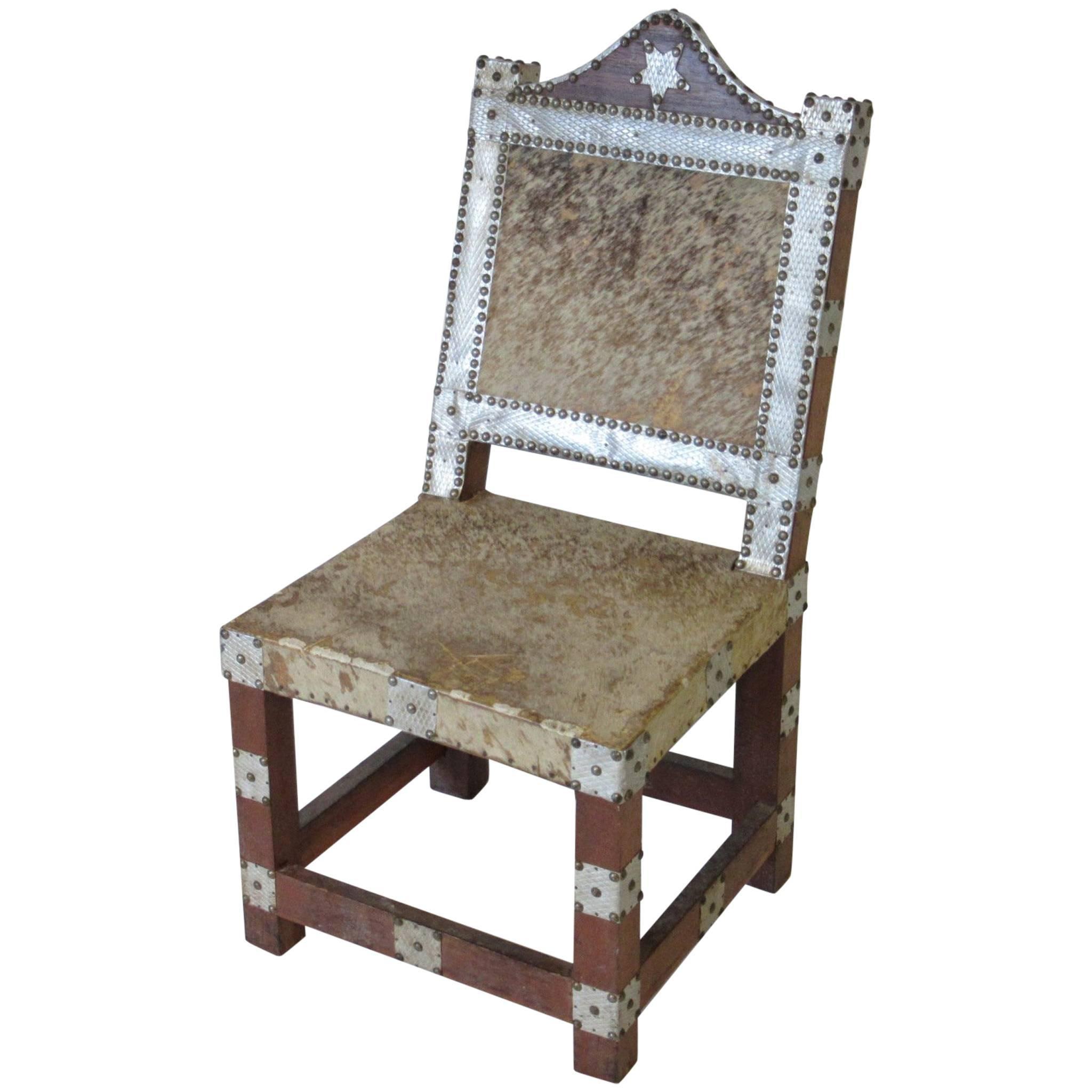 Folk Art African Royal or Prince Aluminum and Metal Studded Animal Skin Chair