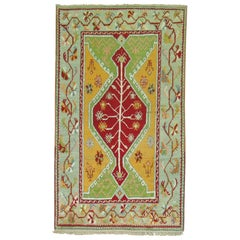 Vintage Turkish Oushak Rug with Bright Colors