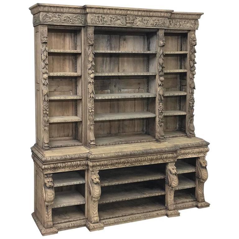 19th Century Stripped Oak English Renaissance Open Bookcase