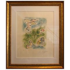 """Mid-Century Modern Marc Chagall Proof """"Amour Et Un Dieu Enfants"""", 1967"""