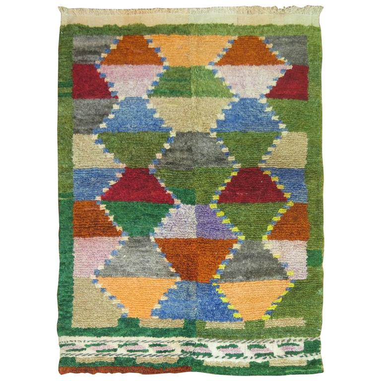 Vintage Turkish  Scandinavian Inspired Tulu Throw Rug