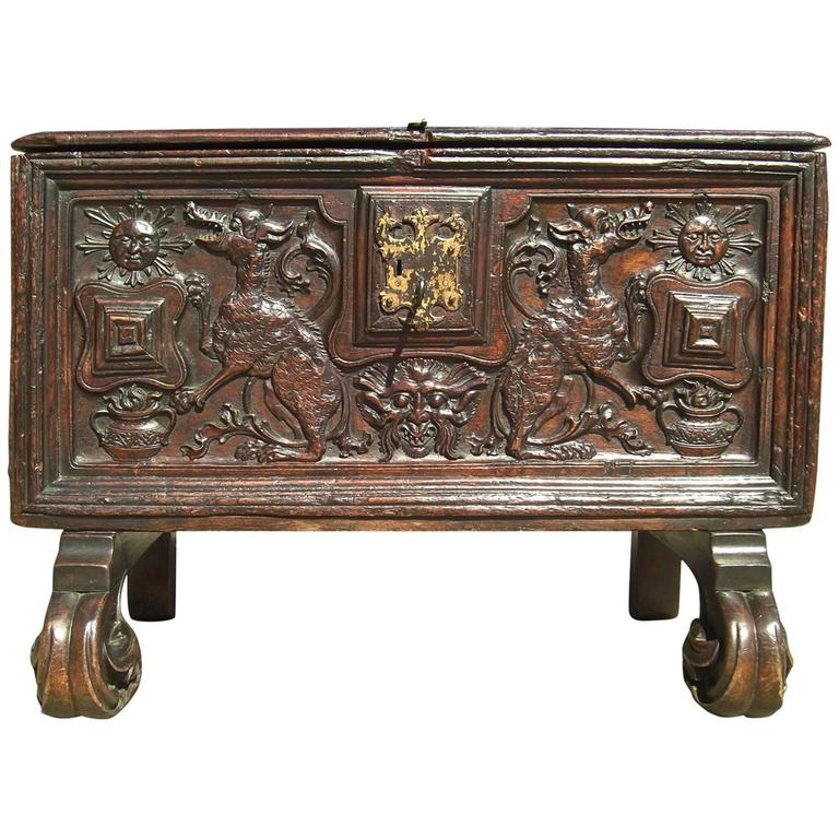 Early 16th Century Spanish Plateresque Chest, Cedar with Boxwood Inlay
