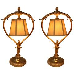 Pair of French Bronze Table Lamps by Christofle