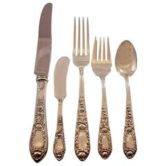Rose by Kirk Sterling Silver Flatware Set for 12 Service 77 Pieces