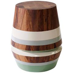 Capirucho Turned Side Table, Conacaste Wood and Lacquered Bands by Labrica