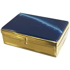 Mid-19th Century Blue Agate and Gilt Metal Rectangular Snuff Box