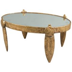 Gold Painted Aluminium Coffee Table with Antiqued Mirror Top, France, 1980s