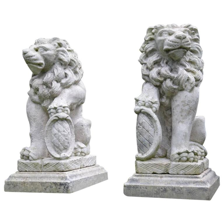 Carved stone bavarian lions for sale at stdibs
