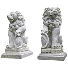 Carved Stone Bavarian Lions