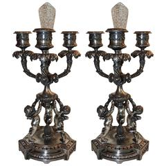 Wonderful Pair of Pairpoint Silvered Bronze Trio Cherub Candelabras Candlesticks