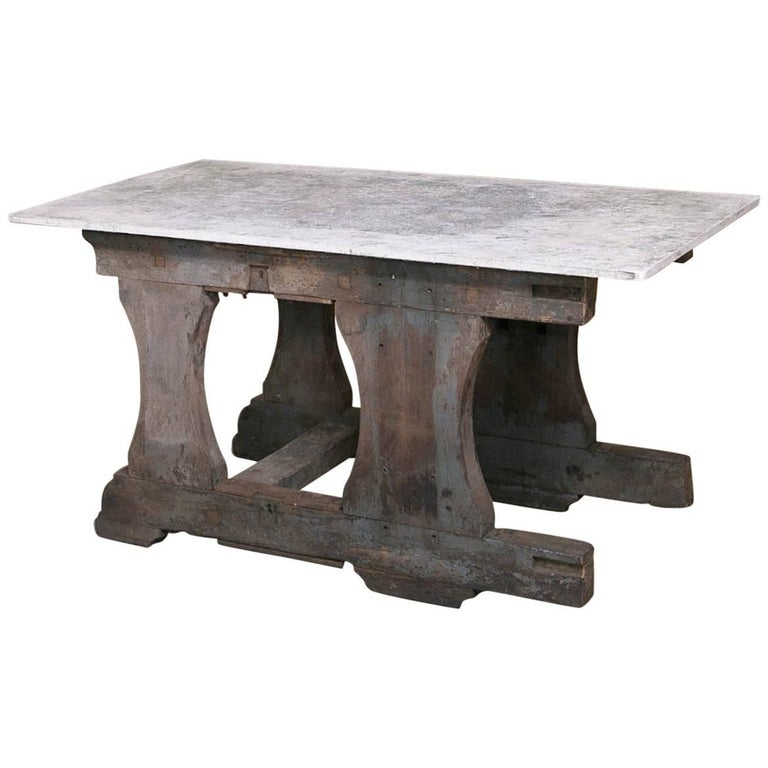 Vintage Rustic Industrial Work Table or Island with Concrete Top For Sale