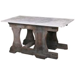 Vintage Rustic Industrial Work Table or Island with Concrete Top