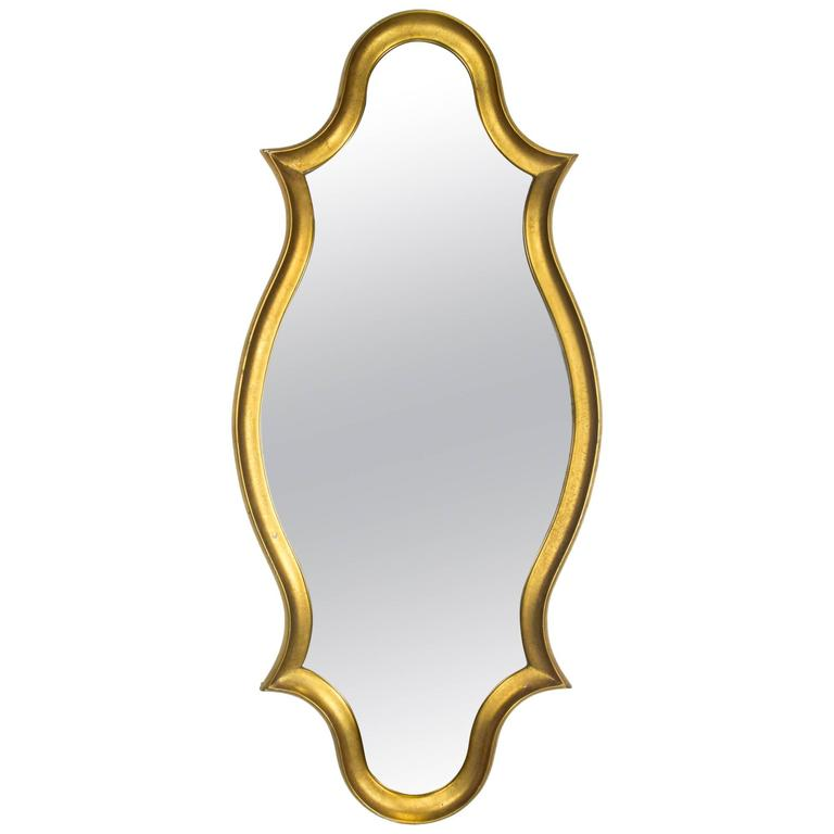 Gold Leaf Framed Cartouche Mirror, 1960s