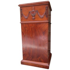 Early 19th Century English Regency Mahogany Pedestal Cabinet with Urn Carving