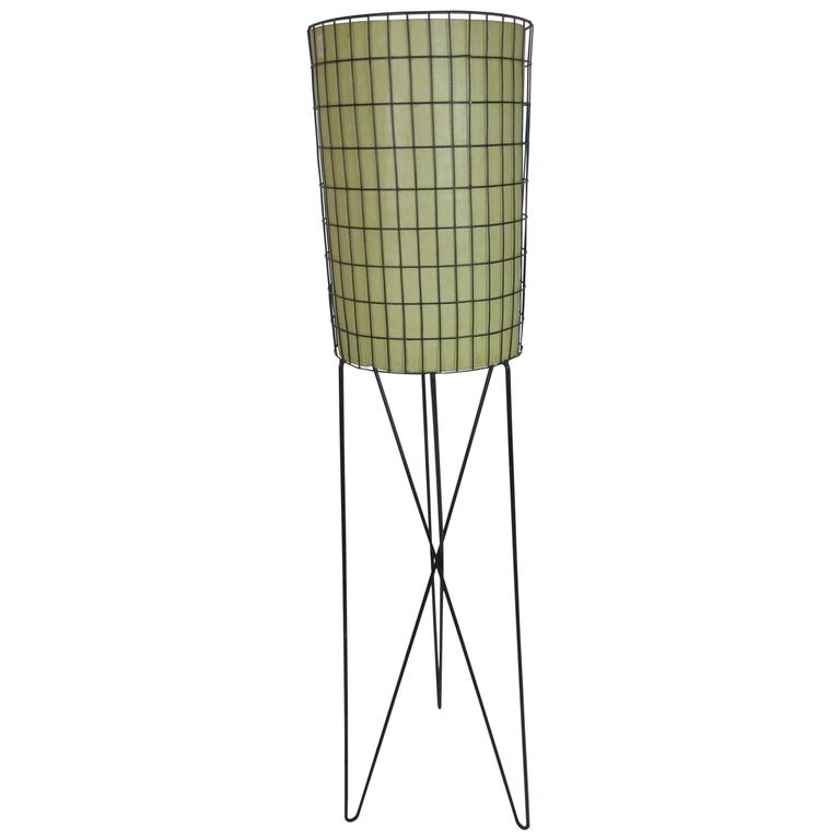 Paul Mayen Lamp in Wrought Iron with Fiberglass Shade 1