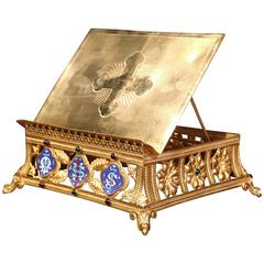 19th Century French Gilt Brass Bible or Book Stand with Cloisonne Medallions