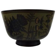 Bing & Grondahl Stoneware B&G, Bowl Hand-Painted with Flowers