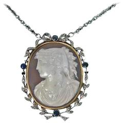 Antique Platinum and Gold Cameo Pendant, Diamond Sapphire Mount, English
