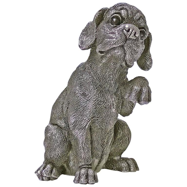 Sterling Statue Sculpture of Spaniel Dog, 20th Century