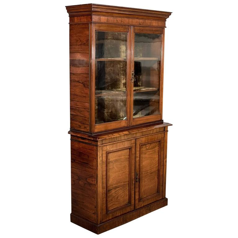 Antique Display Cabinet, Tall, Victorian, Bookcase, Circa 1900 For Sale