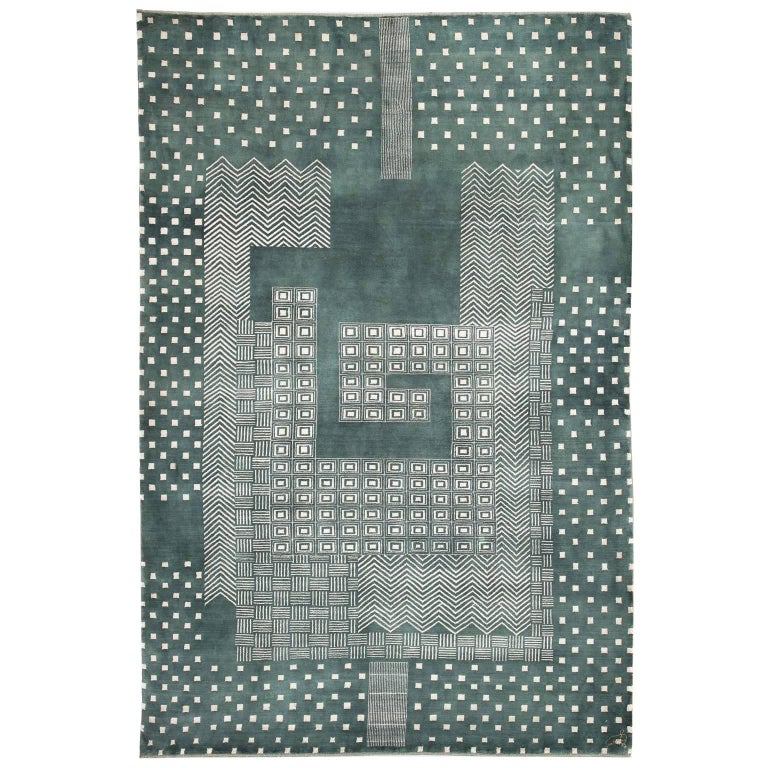 Orley Shabahang Signature Labyrinth Carpet in Handspun Wool and Vegetable Dyes For Sale