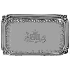 French First Std '.950' Silver Regency style small Tray, circa 1900, Frays Fils