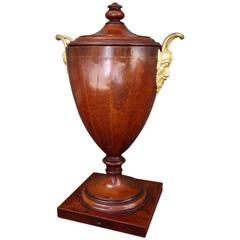 Late 18th Century English George III Mahogany and Bronze Doré Urn or Wine Cooler