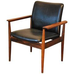 Finn Juhl Designed Rosewood/Leather 'Diplomat' Armchair, circa 1960