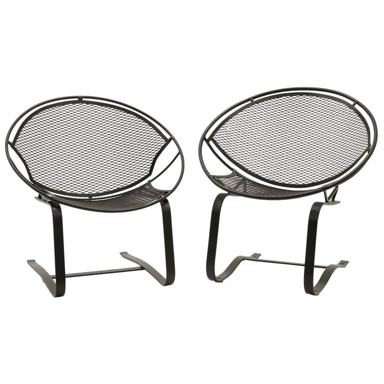 Pair Of John Salterini Outdoor Patio Chairs On Springer