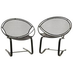 Pair of John Salterini Outdoor Patio Chairs on Springer / Rocking Base, Restored