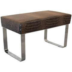 Chrome and Leather Modernist Bench in the Style of Milo Baughman