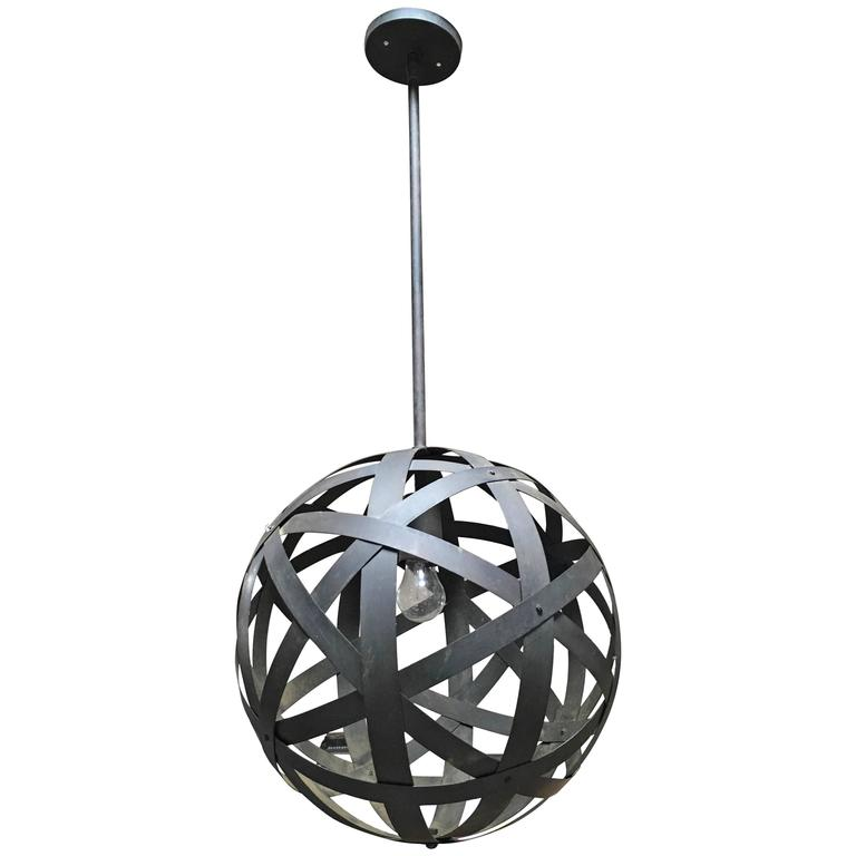 Strapped Metal Sphere Pendant Lamp