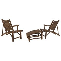 Pair of American Old Hickory Style 1930s Low Slung Armchairs