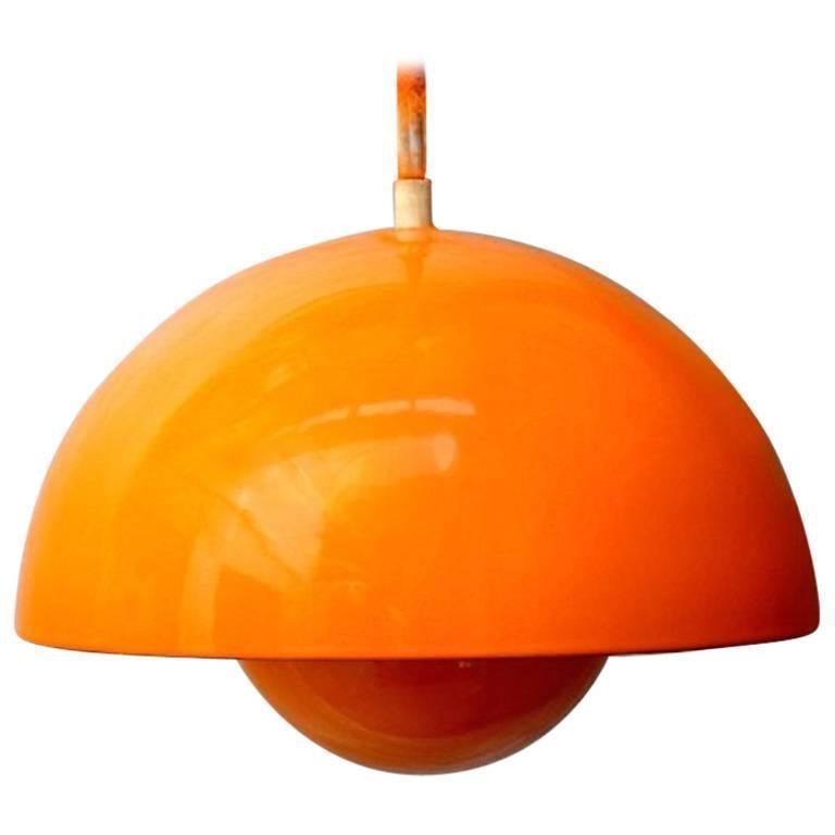 verner panton flowerpot pendant orange for sale at 1stdibs. Black Bedroom Furniture Sets. Home Design Ideas