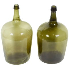Antique Blown Glass French Demijohns with Pontil Bottoms