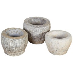 Finely Carved Chinese Stone Mortars